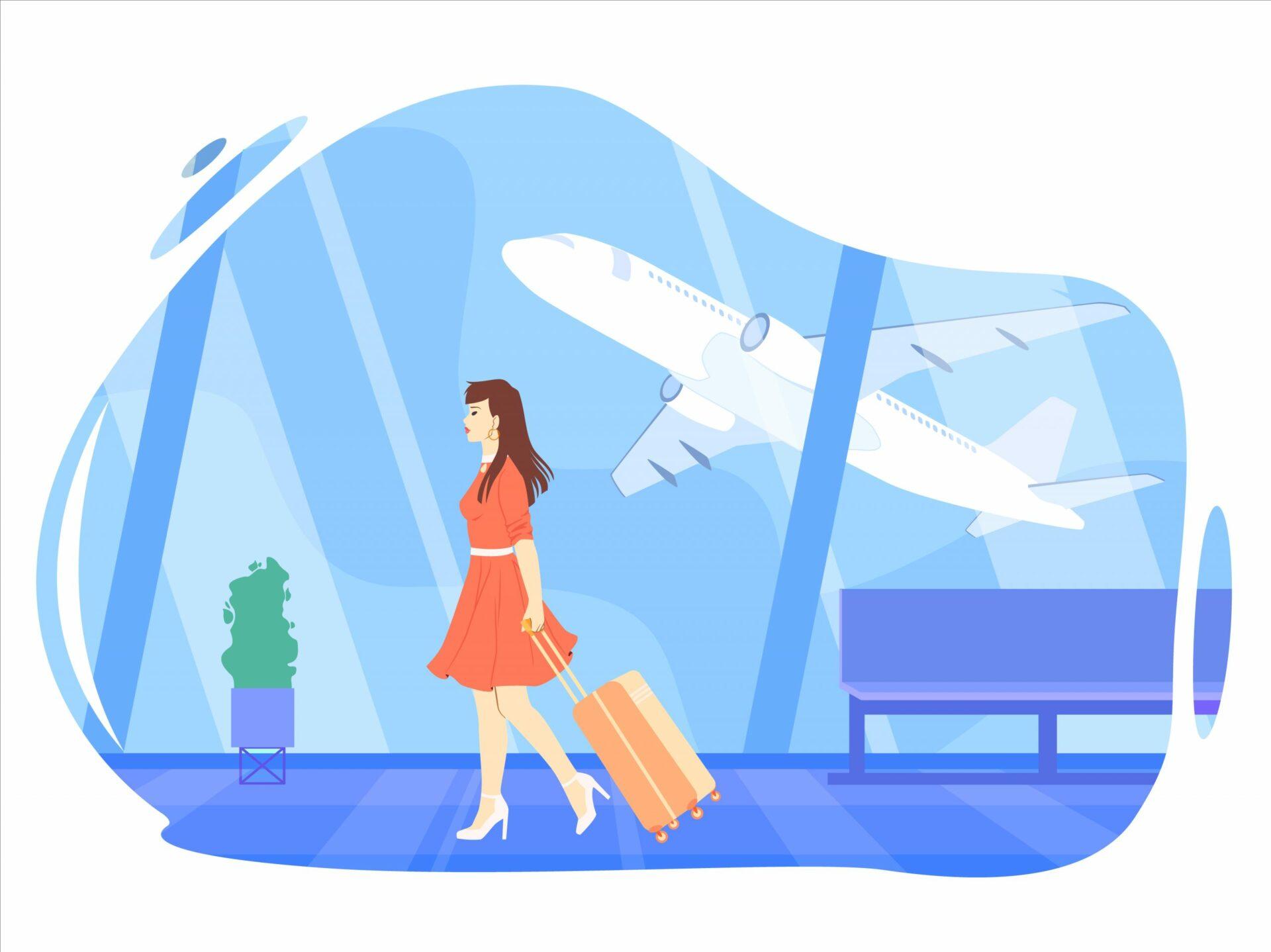 aeropuerto chica con maleta